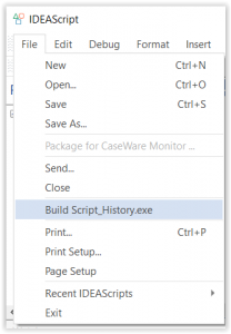 IDEAScript File Menu Dropdown