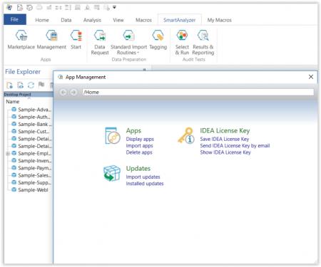 SmartAnalyzer App Management Dialog Box