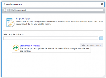 SmartAnalyzer Import Apps Dialog
