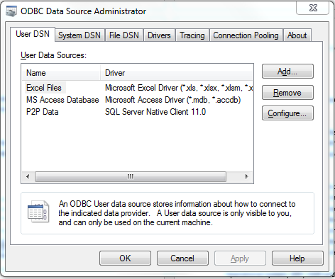 ODBC Data Source Admin - Source Selection Screen