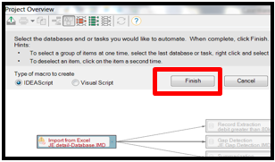 Finish Dialog box after selecting steps you want repeated