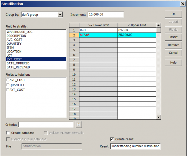 Screenshot of Stratification Dialog Box & Options - Auditing the Material World Tech Tip