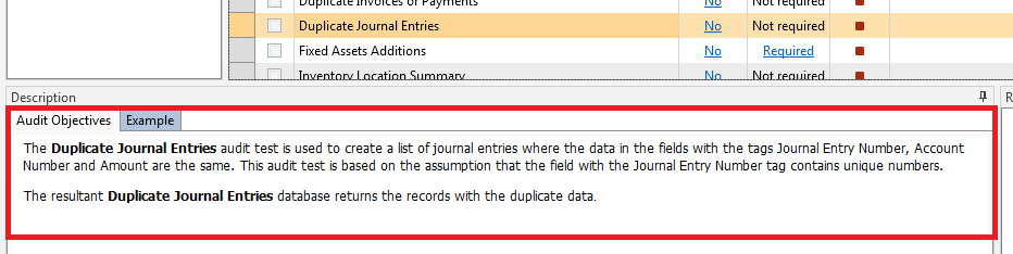 Audit Objective Help Dialog Example for Duplicate Journal Entries App