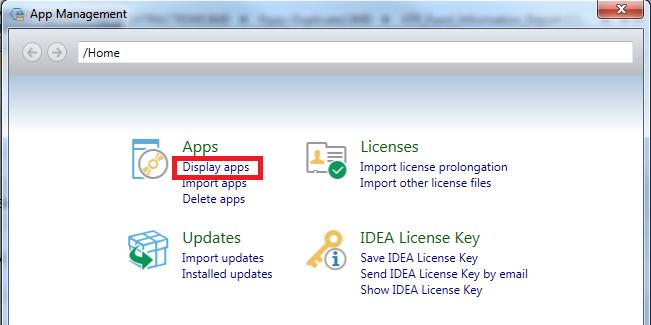 App Management Screen - Select Display apps link