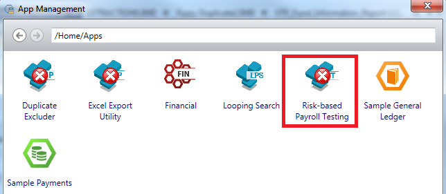 Display of Available Apps - Select 'Risk-based Payroll Testing'