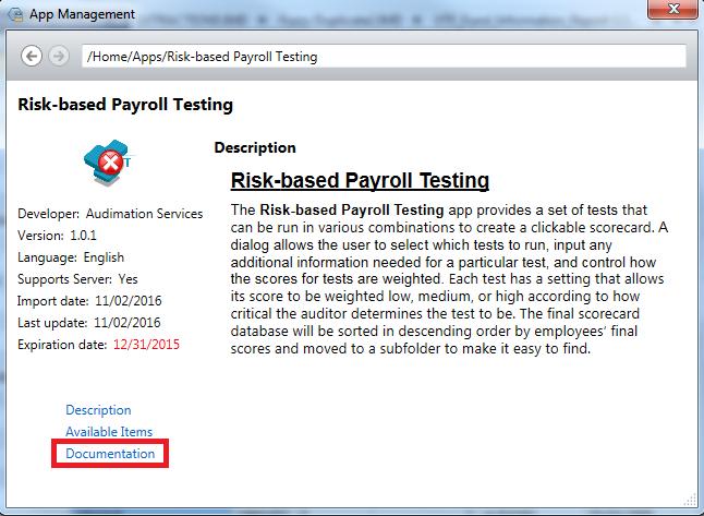Description of Risk-based Payroll Testing App