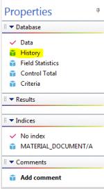 History Link in Properties Tab