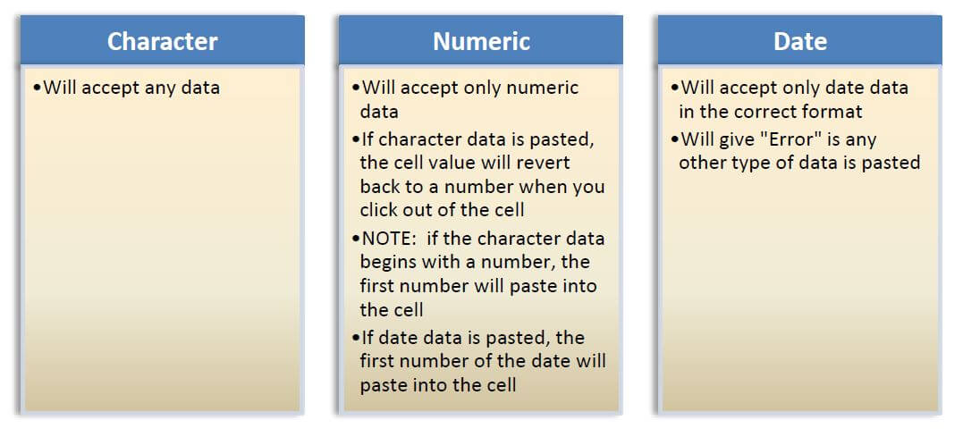 Rules for Pasting Information in Character, Numeric, and Date Fields